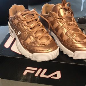 Shoes - Filas gold size 8